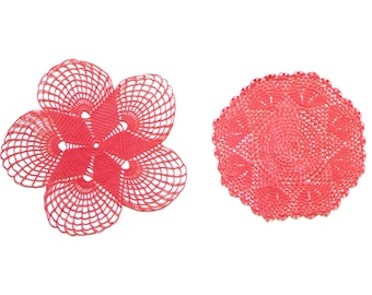 2 red Circle Crochet doilies, coral hand dyed vintage round Doilies FREE SHIPPING