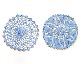2 light blue Circle Crochet doilies, hand dyed vintage round Doilies FREE SHIPPING