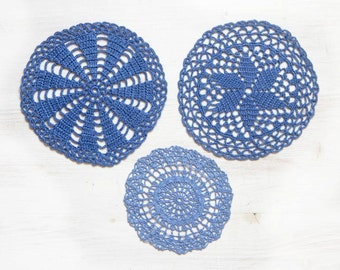 3 light blue Circle Crochet doilies, coral hand dyed vintage round Doilies FREE SHIPPING