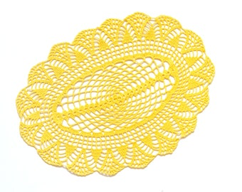 Yellow Oval Crochet doily, hand dyed vintage round Doily FREE SHIPPING