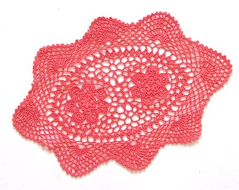 Red Coral Oval Crochet doily, hand dyed vintage round Doily FREE SHIPPING