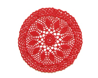 Red Circle Crochet doily, hand dyed vintage round Doily FREE SHIPPING