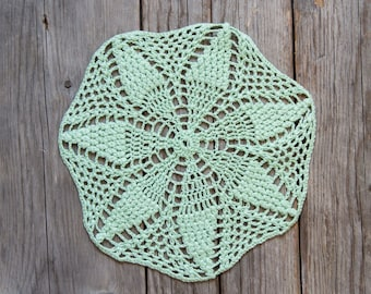 Light Green Circle Crochet doily, hand dyed vintage round Doily FREE SHIPPING