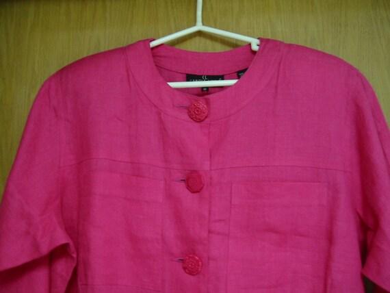 vintage shocking pink Carole Little linen dress si