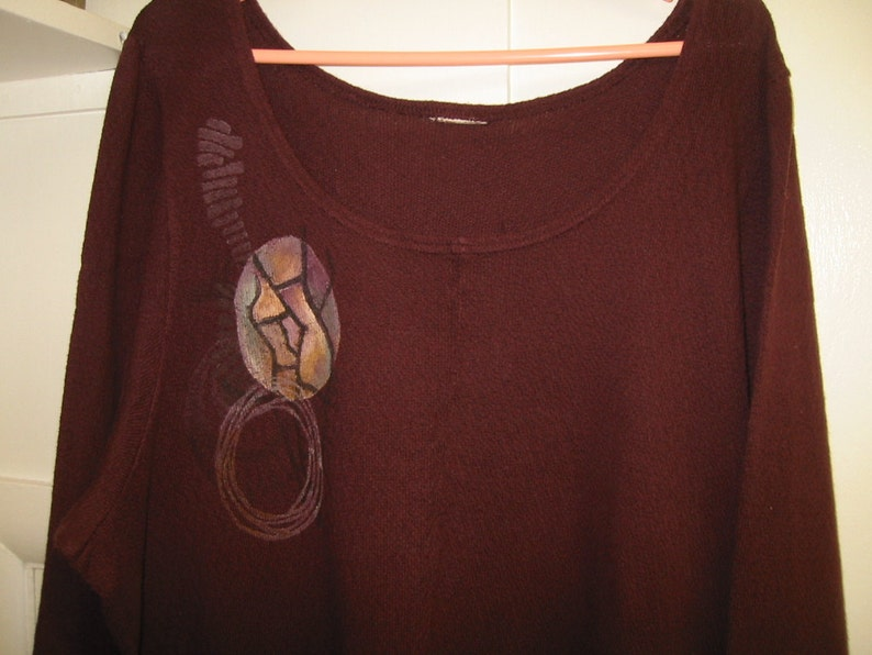 vintage claretwine printed tunic top by  /'Bluefish/'  long sleeves large size  2