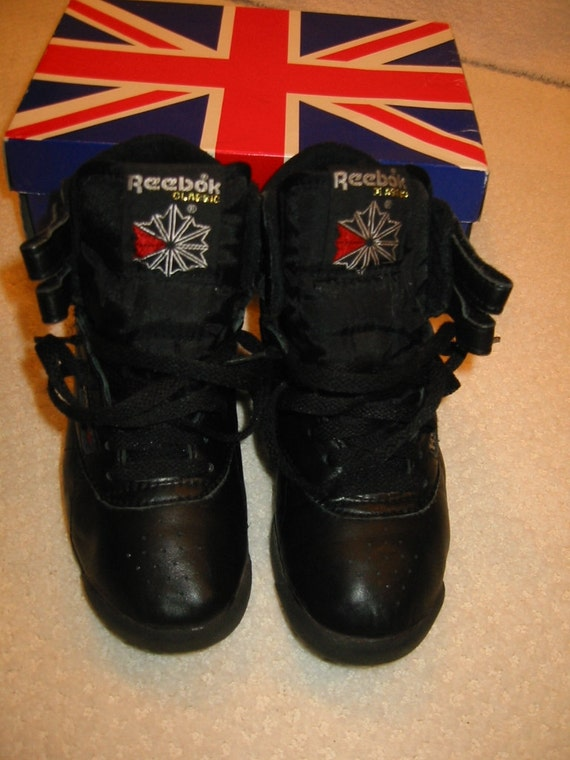 Vintage 80s black Reebok freestyle hi-top sneakers gently  f3e99dac2