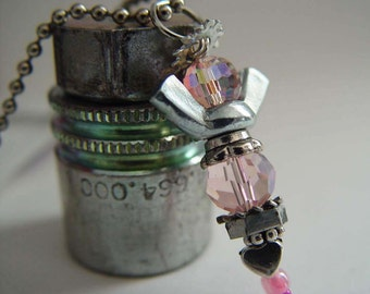 ROAD ANGEL - Iridescent Baby Pink & Silver Wingnut Rear View Mirror Angel Charm with Heart Bead
