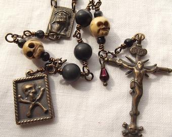 Memento Mori Rosary Skull Rosary with Blood Drop Bead Momento