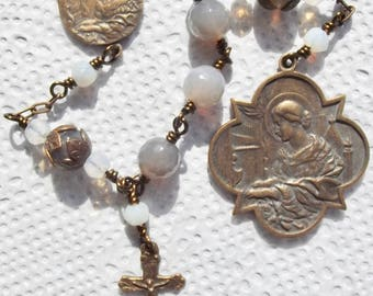 Bronze St. Saint Cecilia Catholic Wire Wrapped Heirloom Rosary Wirewrapped Christmas Gift
