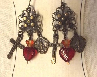 Catholic Miraculous Medal, Sacred Heart, and Crucifix Earrings Jewelry Faux Vintage Jewelry