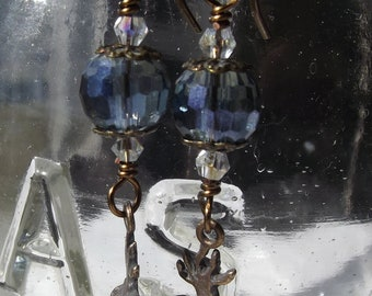 Sacred Heart of Jesus Earrings w Multi-faceted Chinese Crystal