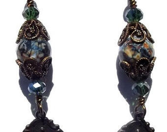 Bronze Miraculous Medal Catholic Earrings Jewelry Heirloom Wire Wrapped Wirewrapped Faux Vintage Antique