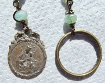 Bronze Our Lady of Mount Carmel and Sacred Heart of Jesus Single Decade Keychain