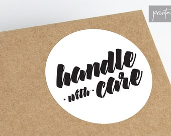 Handle With Care Printable Stickers | Shipping Stickers | Small Business Stickers | Packaging Stickers | Fragile Stickers |Do Not Bend Label
