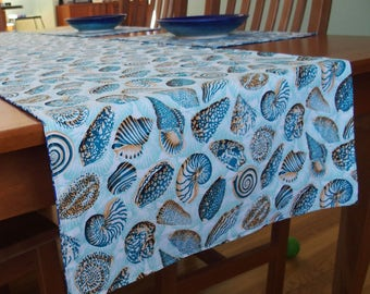 Summer Table Runner with Sea Shells and Coral in Turquoise, Aqua, Royal Blue, Teal, Wide Tablerunner, Reversible, Beach, Nautical