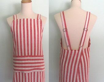 Red and White Stripe Apron, Linen Japanese Apron with Pockets, Red Stripe Apron, No Tie Apron, Men's Apron, Adjustable, Restaurant Apron