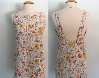 Paris Apron, Japanese Style Apron with Pockets, Wrap Apron, Pinafore, Cross Back Apron Dress, Crossback Apron,  Adjustable, Overlapping Back
