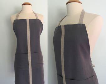 Gray Stripe Linen Apron in Dark and Light Gray, Pockets, Bar Apron, Barista, Restaurant Apron, Waitress Apron, Server Apron, Heavyweight