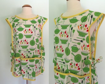 Cobbler Apron with Pots, Pans, Vegetables in Green and Yellow, Cooking Apron, Smock, Full Coverage Apron with Pockets, Cultivate and Cook