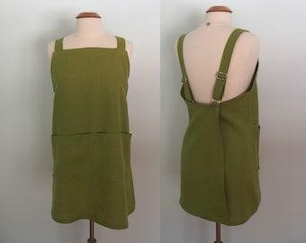 Olive Green Japanese Apron, Linen Apron, Pinafore, Wrap Apron, Garden Apron, Artist Apron, Crossback Apron, Short or Long Length, Oasis