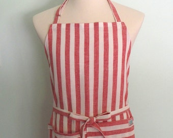 Red Stripe Apron with Pocket and Towel Loop, Extra Wide, Men's Linen Apron, Chef Apron, Restaurant Server Apron, Adjustable, No Neck Ties