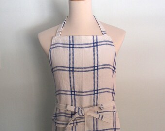 Blue and White Stripe Chef Apron with Pocket and Towel Loop, Men's Apron, Yarn Dyed Linen, Adjustable, Picnic Stripe Jacquard, No Neck Ties