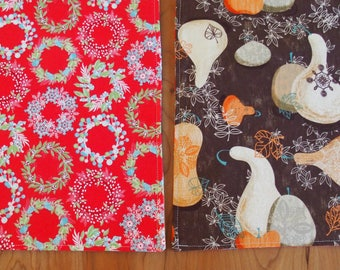 Christmas Placemats with Sparkle Wreaths in Red, Green and Blue, Thanksgiving Place Mats with Gourds and Leaves in Brown, White and Orange