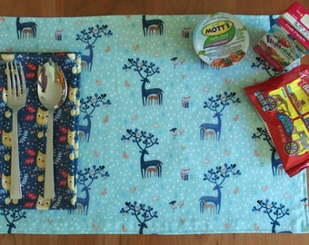 Kids Placemat and Napkin Set with Deer and Owls in Light Blue and Dark Blue, Lunchbox Placemat, for Food Allergies, Dear Stella Hilltop