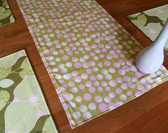 """Olive and Pink Table Runner with Flowers and Martini Olives, Centerpiece Runner, Reversible, Console Runner, Amy Butler Midwest Modern, 37"""""""