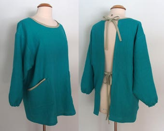 Teal Blue Painter Smock with 4 Pockets, Long Sleeve Apron, Artist Smock, Flax Apron, Linen Apron Long Sleeves, Full Coverage Smock