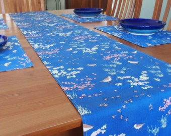 Nautical Table Runner with Sand Piper Birds Sea Shells, Summer Table Decor, Blue, Brown, Pink, Coastline Beach Comber, 14 x 84