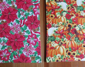 Thanksgiving and Christmas Placemats with Pumpkins, Sunflowers, Cornucopia, Apples, Poinsettia, Amaryllis, Pine Cones in Red, Green, Orange