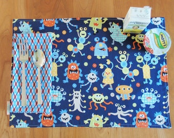 Boy's Placemat and Napkin Set with Monsters and Argyle in Navy Blue, Light Blue, Red, and Yellow, Lunchbox Placemat, for Food Allergies