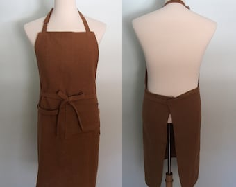 Heavy Weight Linen Apron with Pockets and Towel Loop in Light Brown, Men's Apron, Extra Wide Apron, Ginger Canvas Weight Linen, Gift for Him