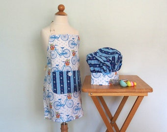Girls Apron and Chef Hat with Bicycles and Flowers in Dark Blue, Kids Apron, No Neck Ties, Adjustable Neck, Michael Miller Farmers Market