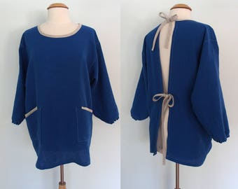 Royal Blue and Gray Painter Smock with 4 Pockets, Long Sleeve Smock, Artist Smock, Flax Apron, Linen Apron Long Sleeves, Full Coverage Apron