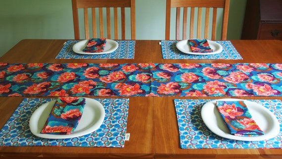 Floral Centerpiece Runner Linen Tropical Table Runner with Birds and Flowers in Eggplant Aubergine Reversible Table Runner Jenaveve
