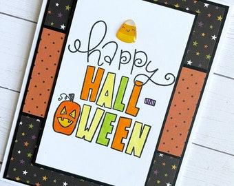 Happy Hallowen greeting card -  Jack O Lantern - Cute Halloween -  handmade halloween - october 31 - all hallows eve - halloween notecard