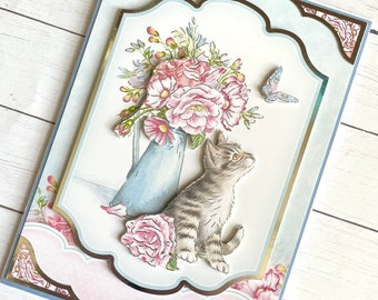 Layered silver foiled handmade greeting card with kitten and butterfly, cat and flowers - blue floral card - all occasion - birthday for her