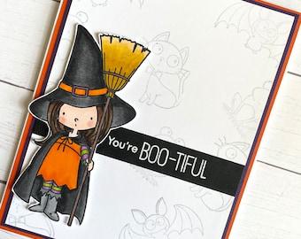 Cute witch handmade Halloween greeting card -  Halloween witch card - Halloween greeting card - You're BOOtiful - girl Halloween - Oct 31