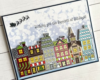 Handmade Christmas village card,  Handstamped Christmas card, Christmas village with santa, wishing you the happiest of holidays, santa card