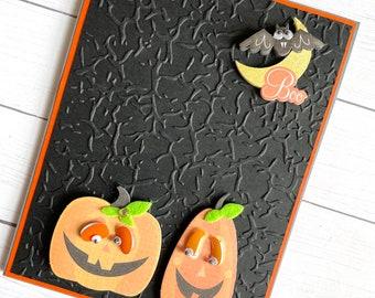 Embossed jack o lanterns Halloween card -  cute jack o lantern card -  Halloween greeting - handmade halloween card - spooky note card