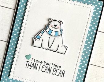 Polar Bear Card - Polar Bear Valentines Card - Anniversary Card - I love You More Than I Can Bear, Punny Polar Bear Card - birthday card