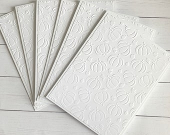 Set of 6 white embossed pumpkin note cards, fall thinking of you notecard set, handmade autumn notecards, harvest card set, Thanksgiving