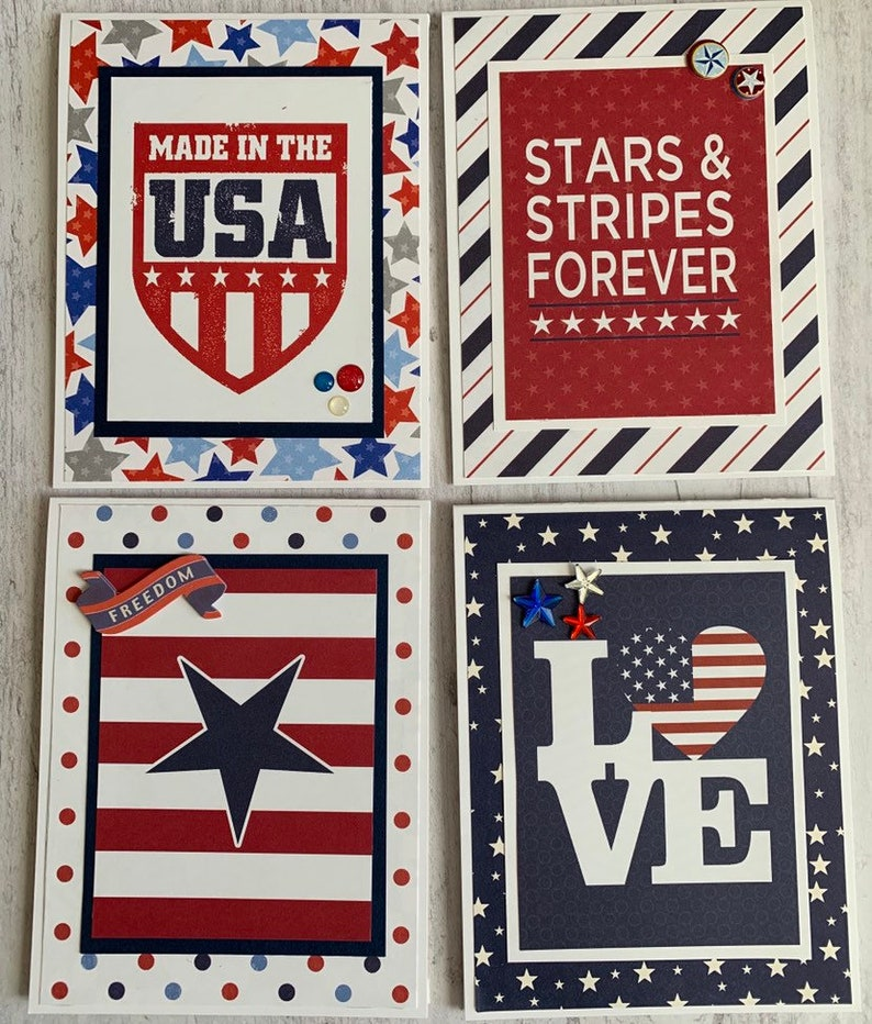 Set Of 4 Happy July 4 Cards Handmade Independence Day Etsy