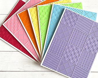 Set of 7 multi colored embossed quilted note cards, embossed quilt note card set, quilting cards, blank greeting cards, rainbow embossed