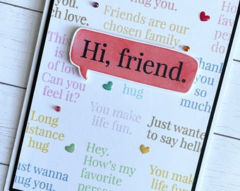 Handmade subway friendship greeting card, thinking of you, thank you friend, hello friend, sending hugs, friendship words, colorful greeting
