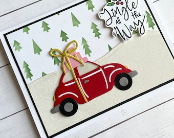 red christmas car greeting card -  car with gifts - Die cut Xmas card - pine tree card -Jingle all the way - home for christmas
