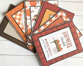 Set of 6 fall themed notecards - fall greeting cards  - blank fall cards - Thanksgiving notecards or invitations - autumn themed notecards