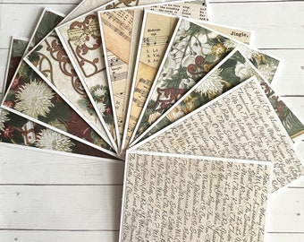 Set of 10 Christmas themed notecards - Christmas notecards - blank Christmas cards - holiday notecards or invitations -